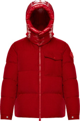 Moncler Red Vignemale Corduroy Puffer Jacket