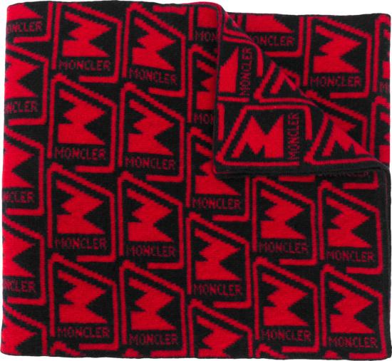 Moncler Red Black Logo Jacquard Scarf
