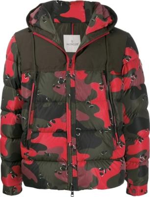Moncler Red Camo Print Puffer Coat