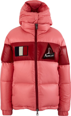 Moncler Red Pink Striped Gary Puffer Jacket