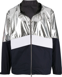 Moncler Silver Metallic And Navy Quinac Hooded Jacket