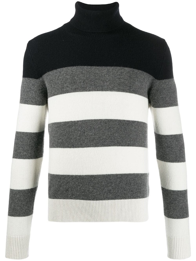 Grey & White Striped Navy Turtleneck