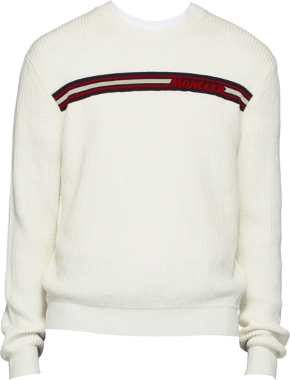 Moncler Striped White Sweater