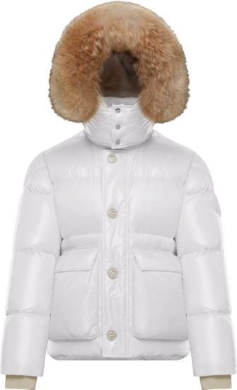 Moncler White Armoricano Fur Hoodi Puffer Jacket