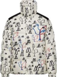 Moncler White Allover Logo Print Marennes Puffer Jacket