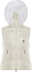 Moncler White And Fur Hood Puffer Vest