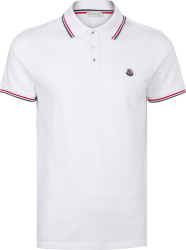 Moncler White And Striped Trim Polo Shirt