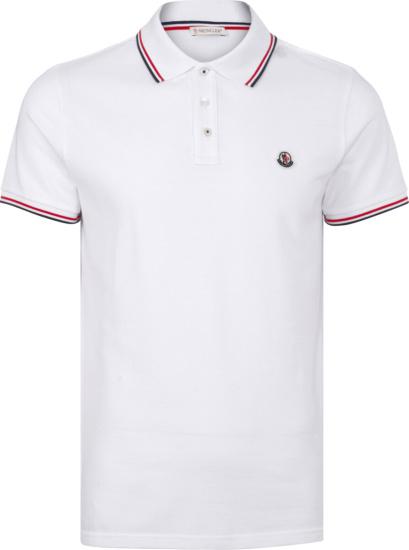Moncler White And Striped Trim Polo Shirt