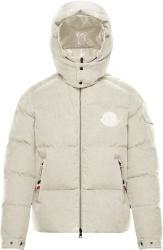 Moncler White Corduroy Frares Puffer Jacket