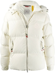 Moncler White Courderoy Puffer Jacket