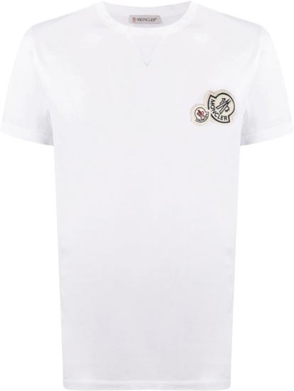 Moncler White Double Logo Patch T Shirt