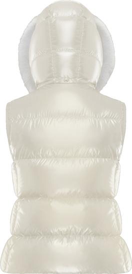 Moncler White Fur Balabio Vest