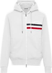 Moncler White Logo Stripe Zip Hoodie