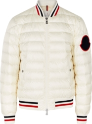 White 'Deltour' Padded Bomber Jacket
