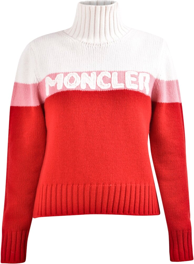 Moncler White Pink Red Striped Turtleneck