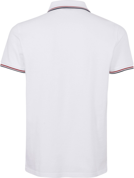 Moncler White Polo With Red Blue White Stripe Collar Cuffs
