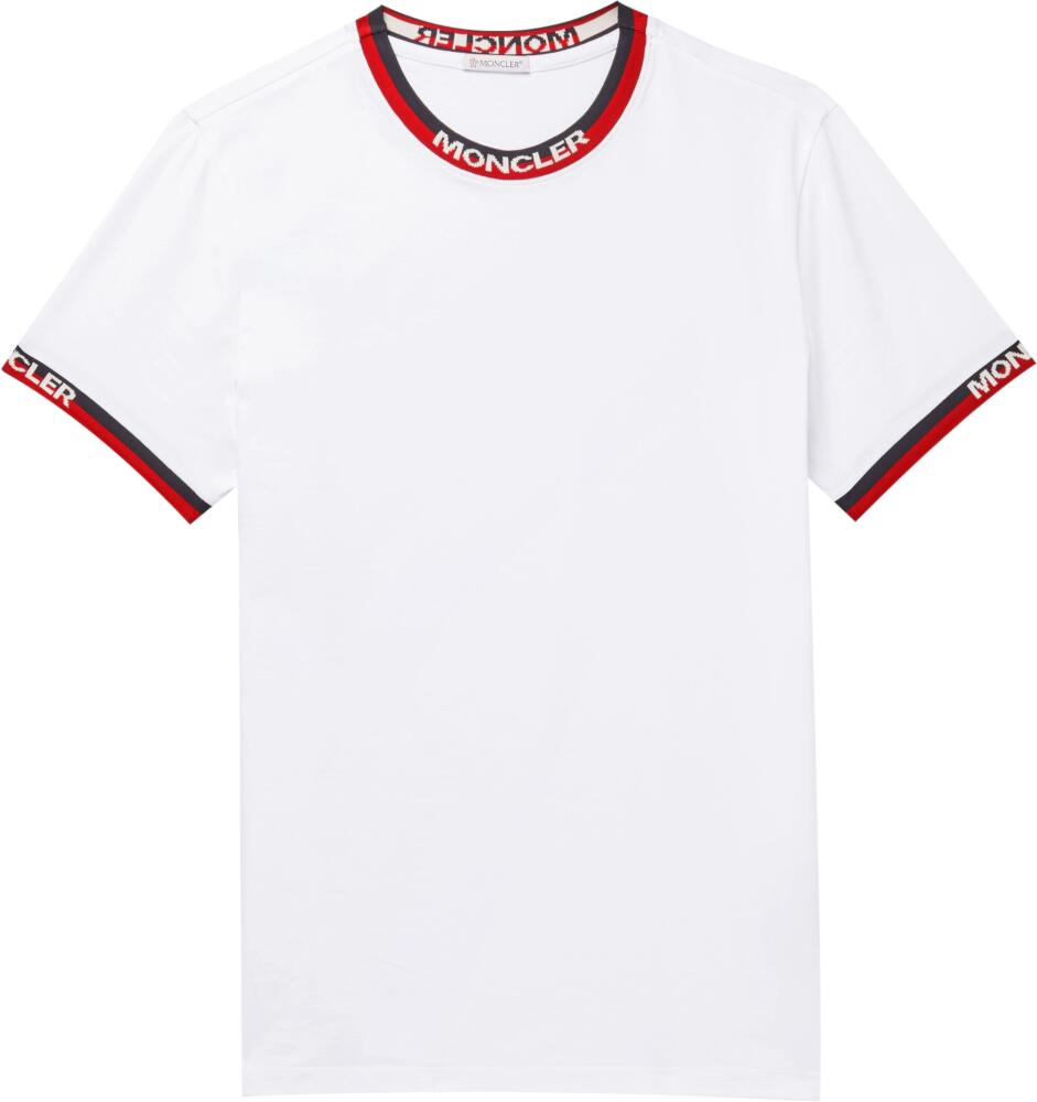 Moncler White T Shirt With Blue And Red Striped Trim