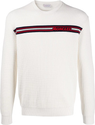 Moncler White Waffle Knit Logo Stripe Sweater