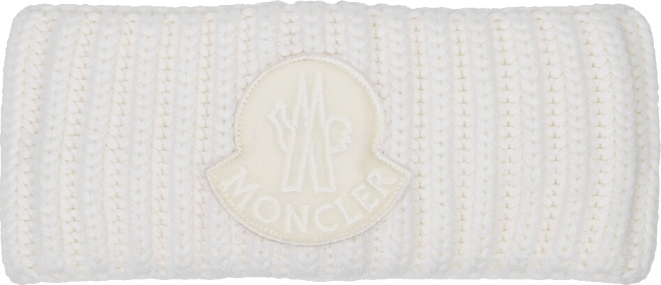 Moncler White Wool Headband