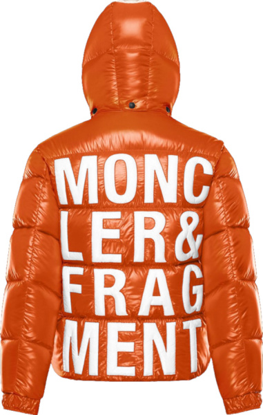 Moncler X Fragment Orange Hooded Puffer Jacket