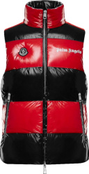 Moncler X Palm Angels Red And Black Striped Weste Puffer Vest
