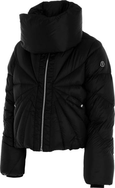 Moncler X Rick Owens Black Oversized Collar Puffer Jacket