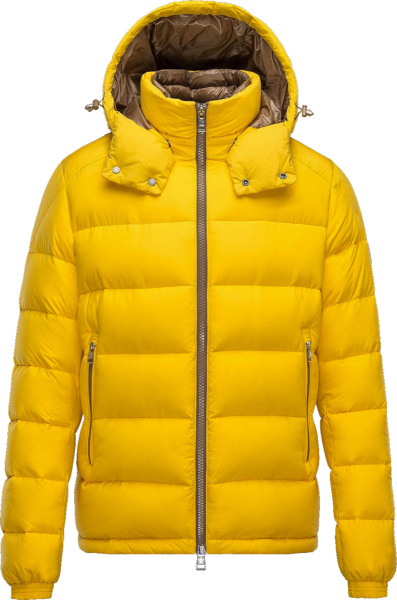 Moncler Yellow And Beige Brique Puffer Jacket