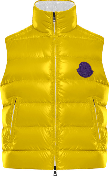 Moncler Yellow Park Puffer Vest With Purple Logo Patch