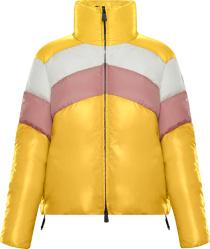 Moncler Yellow Pink White Striped Lamar Puffer Jacket