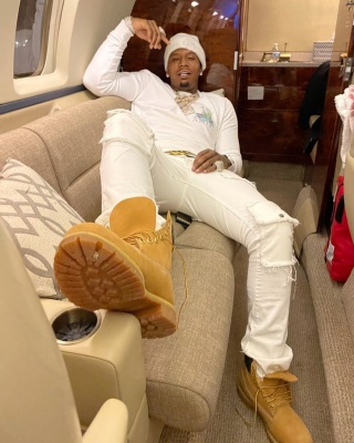 Moneybagg Yo Relaxes On The Pj In A Chrome Hearts Beanie Amiri Sweatshirt Gucci Belt And Timberland Boots