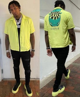 Moneybagg Yo Wearing A Bottega Veneta Yellow Padded Shirt And Boots With Amiri Jeans