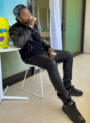 Moneybagg Yo Wearing A Chrome Hearts Leather Trucker Hat And Jacket With Alexander Mcqueen Sneakers