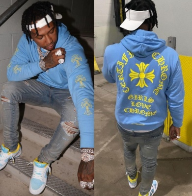 Moneybagg Yo Wearing A Chrome Hearts X Drake Hoodie With A Lv Belt And Matching Nike Dunks Low Sb Sneakers