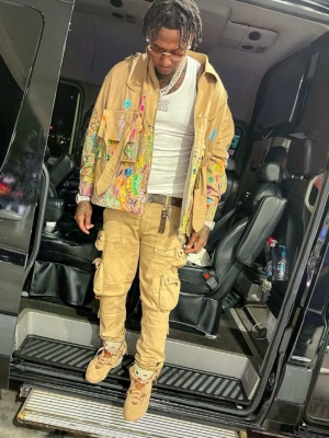 Moneybagg Yo Wearing A Louis Vuitton Beekeeper Jacket And Belt With Amiri Pants And Jordan Sneakers