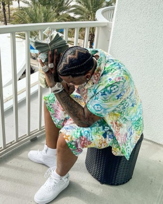 Moneybagg Yo Wearing Louis Vuitton Multicolor Monogram Hawaiian Shirt And Shorts With Comme Des Garcons Air Force 1s