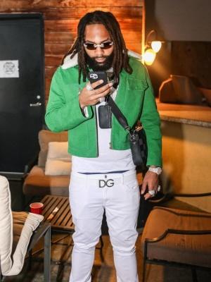 Moneyman Wearing A Louis Vuitton Workwear Jacket And Messenger Bag With A Dolce Gabbana Belt