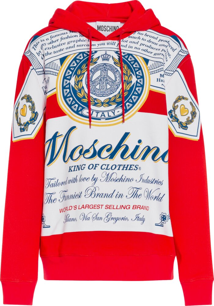 Moschino Budweiser Style Logo Print Hoodie