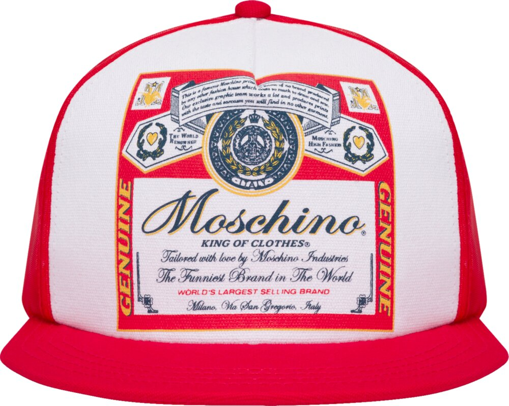 Moschino Budweiser Style Red Trucker Hat
