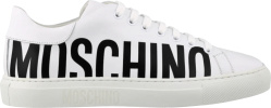 Moschino White Low Top Logo Print Sneakers