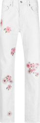 Mouty White And Pink Flower Print Jeans