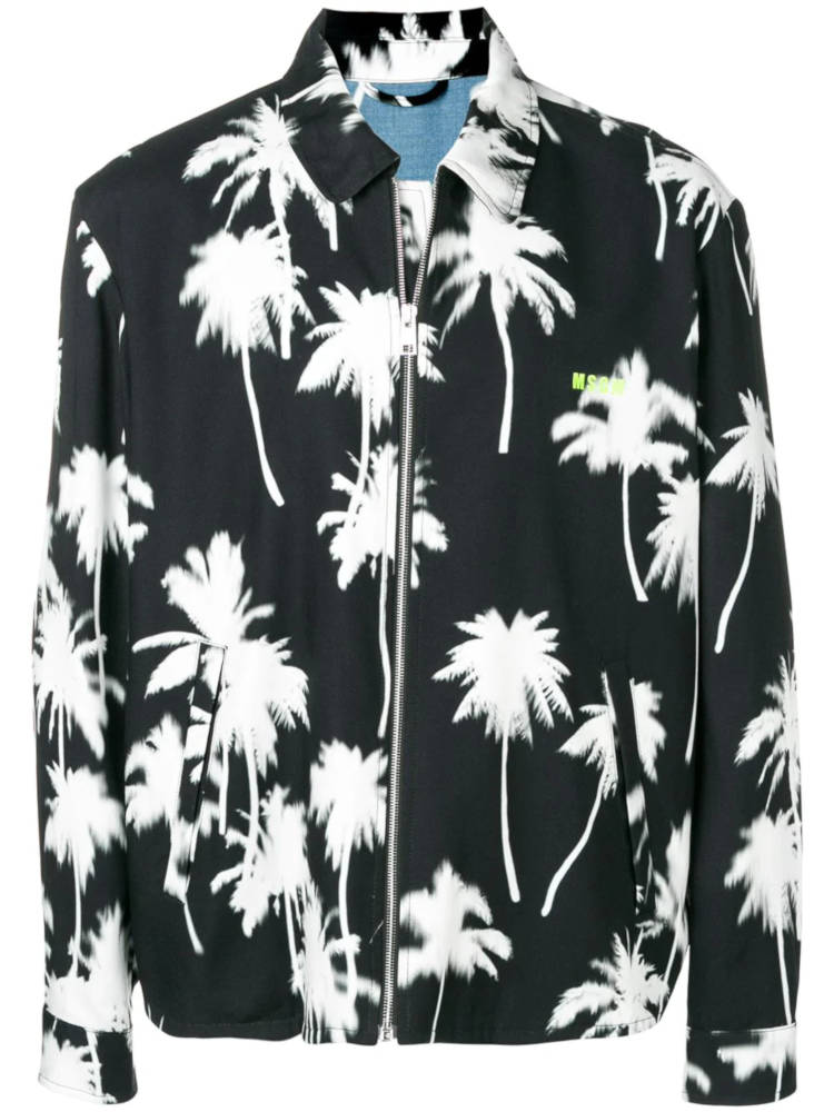 Msgm Black Jacket With White Palm Tree Print Worn By Diddy