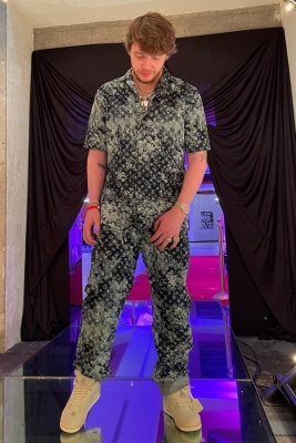 Murda Beats Wearing A Louis Vuitton Black Monogram Camo Shirt And Pants With Jordan 4s