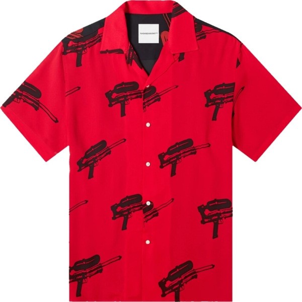 Nasaseasons Paintball Gun Print Red Shirt