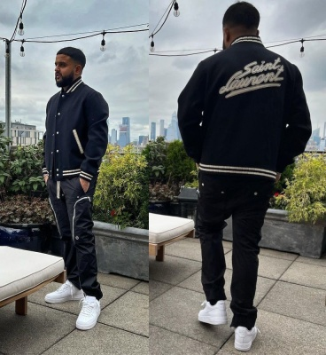 Nav Wearing A Saint Laurent Bomber Jacket With Rick Owens Pants And Nike Air Force 1s