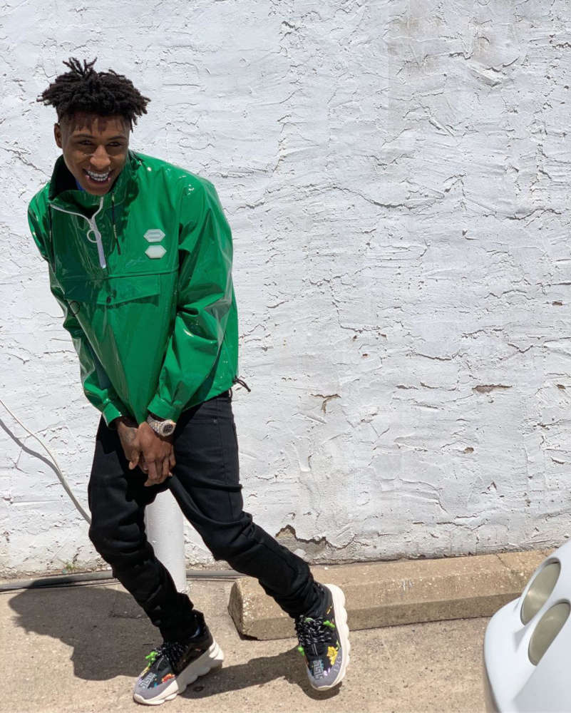 Nba Youngboy Wearing A Green Off White Windbreaker And Versace Chain Reaction Sneakers