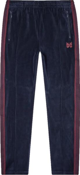 Needles Navy Velour And Purple Stripe Trackpants