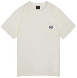 Needles Papillion White T Shirt With Purple Chest Pocket Logo