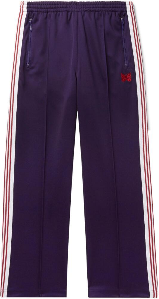 Needles Purple Trackpants With Whtie And Red Side Stripe
