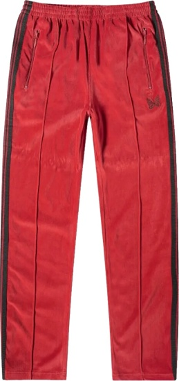 Needles Red Velour Trackpants