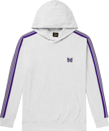 Needles White Velour And Purple Stripe Hoodie